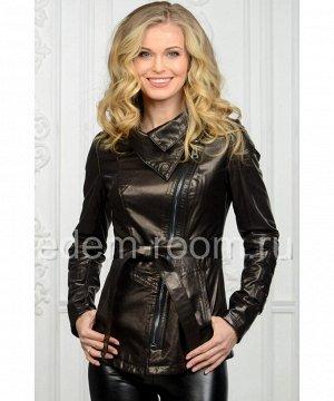 Чёрная женская кожаная куртка на весну и осеньАртикул: NS-701-CH