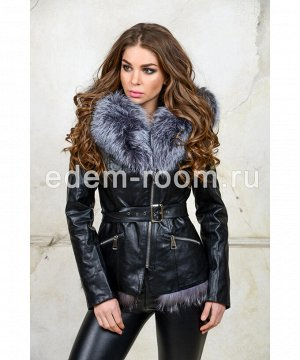 Куртка из эко-кожи с меховым капюшонмАртикул: RL-212-CH