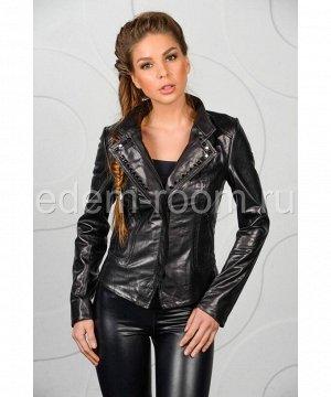 Черная кожаная куртка женская - весна Артикул: M-53320
