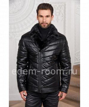 Зимяя мужская куртка из экокожиАртикул: IK-166-CH-N