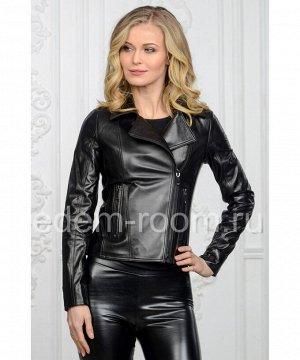 Черная куртка кожаная женская - косуха Артикул: U-039-CH