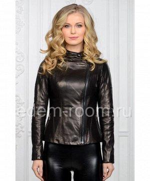 Черная весенняя кожаная куртка женская на молнииАртикул: NS-762-CH