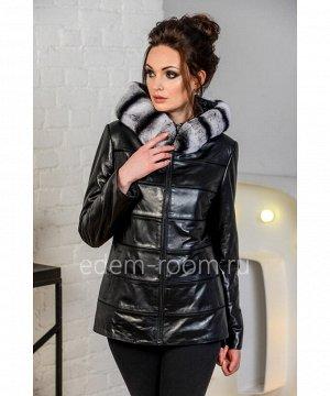 Утеплённая женская кожаная курткаАртикул: S-19010-2-70-KR
