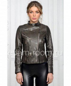 Короткая женская кожаная куртка на веснуАртикул: M-076-SR