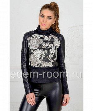 Комбинированная весенняя куртка из натуральной кожи для женщинАртикул: M-17202-CH