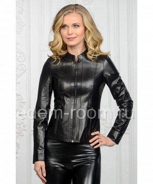 Классическая чёрная весенняя куртка из натуральной кожиАртикул: U-053-CH