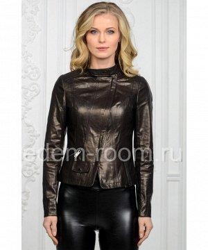 Женская кожаная куртка черная на молнииАртикул: U-066-CH