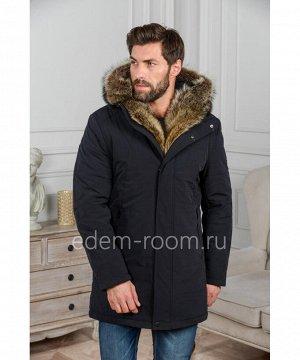 Мужская куртка с капюшоном и мехомАртикул: R-18293-2-CH-EN