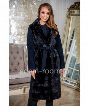 Чёрное пальто с мехом норкиАртикул: RE-82097-110-CH-N