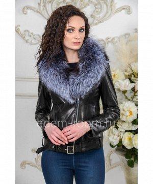 Кожаная куртка со съёмным меховым воротникомАртикул: AL-19021-55-CH