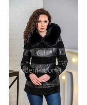 Демисезонная кожаная куртка с меховым капюшономАртикул: H-09-70-2-P