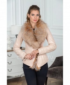 Светлая короткая куртка из кожиАртикул: H-133-70-BG-L