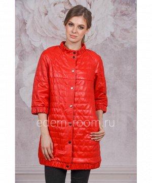 Красный плащ из натуральной кожиАртикул: AL-18335-RD