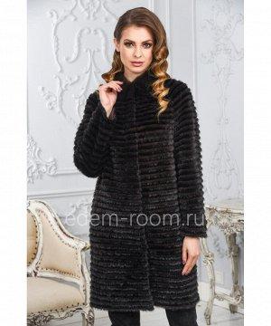 Меховое пальто из комбинированного меха норки и кроликаАртикул: M-17014-KR-CH