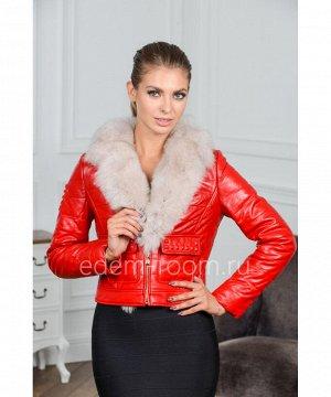 Красная кожаная куртка с меховым воротникомАртикул: G-1810-55-R-P