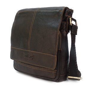 Мужская сумка Ruff Ryder. Кожа. 1650/3989 brown