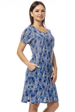 """Платье """"Фея"""" с вырезом на плече синие волны"""