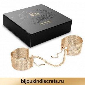 Bijoux Indiscrets GOLD METALLIC MESH HANDCUFFS Наручники золотые