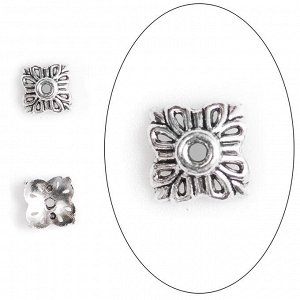 Шапочка для бусин 12*5мм, квадратная снежинка, тибетское серебро. Цена за 1 шт.