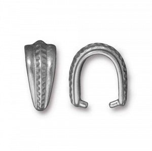 Держатель, 14*6.5мм, TierraCast, с узорной полосой, зажимной, под античное серебро