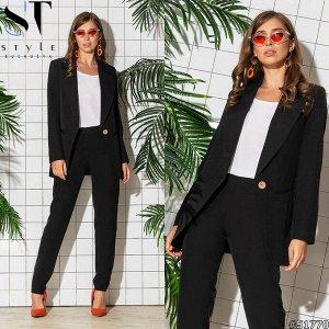 Костюм черный (жакет+брюки) 48 размера обмен на 46 или продажа