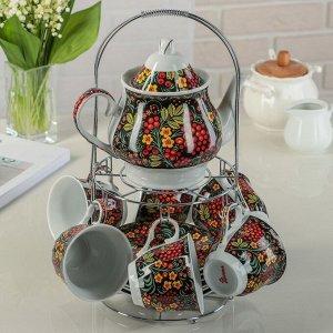 Сервиз чайный  «Хохлома»,13 предметов: чайник 1 л, 6 чашек 210 мл, 6 блюдец, на подставке
