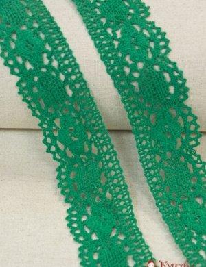 Кружево хлопок-90%, п/э-10%, 60мм, цв.зеленый