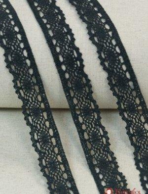 Кружево хлопок-90%, п/э-10%, 35мм, цв.черный с зеленым оттенком