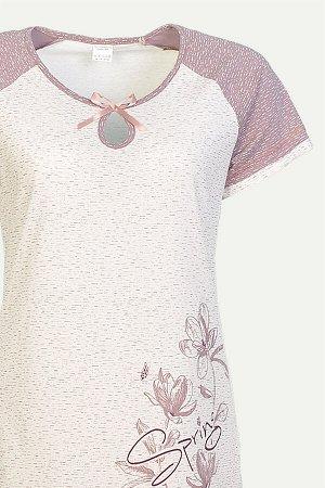 Сорочка Сорочка женская с коротким рукавом и округлым вырезом горловины с капелькой.  Расцветки в ассортименте (как на фото) Состав: 100% хлопок Ткань: кулирка