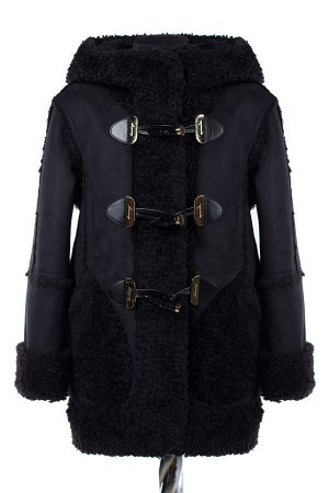 10-0432 Пальто детское утепленное Искусственная дублёнка черный