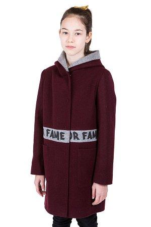 10-0587 Пальто валяная шерсть Рубин