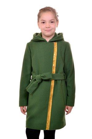 Пальто Материал: Кашемир РАЗМЕР: Рост 152; Рост 146; Рост 140; Рост 134 ЦВЕТ: Темно-зеленый