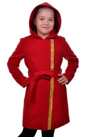 Пальто Материал: Кашемир РАЗМЕР: Рост 140,Рост 134 ЦВЕТ: Красный