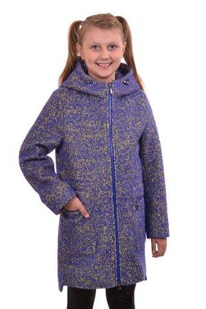 Пальто Цвет: Сине-желтый; Материал: Букле