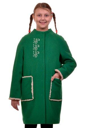 Пальто Цвет: Зеленый; Материал: Кашемир Утепленное пальто для девочки с вышивкой. Ткань верха - Кашемир (65% шерсть + 35% п/э), подклад - 100%п/э, утеплитель синтепон 100 гр. Меховая опушка съемная.
