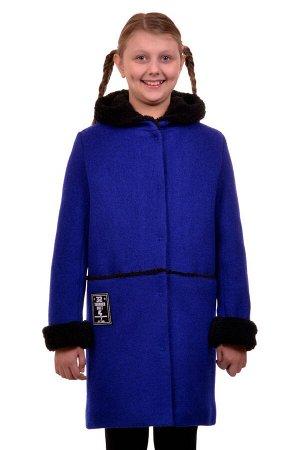 Пальто Цвет: Синий Материал: Букле Описание: Утепленное пальто для девочки. Ткань верха - Букле (65% шерсть + 35% п/э), подклад - 100%п/э, утеплитель синтепон 100 гр.