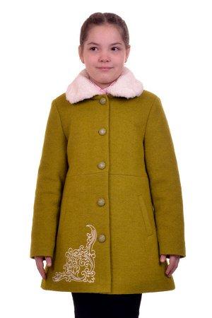 Пальто Цвет: Зеленый Материал: Вареная шерсть Описание: Утепленное пальто для девочки с вышивкой. Ткань верха - Вареная шерсть (65% шерсть + 35% п/э), подклад - 100%п/э, утеплитель синтепон 100 гр. Ме