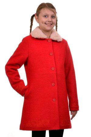 Пальто Цвет: Красный; Материал: Вареная шерсть Утепленное пальто для девочки с вышивкой. Ткань верха - Вареная шерсть (65% шерсть + 35% п/э), подклад - 100%п/э, утеплитель синтепон 100 гр. Меховая опу