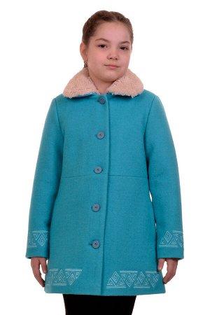 Пальто Цвет: Морская волна; Материал: Вареная шерсть Утепленное пальто для девочки с вышивкой. Ткань верха - Вареная шерсть (65% шерсть + 35% п/э), подклад - 100%п/э, утеплитель синтепон 100 гр. Мехов
