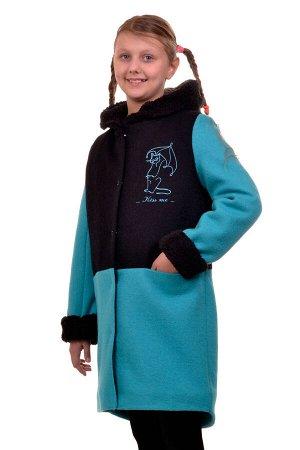 Пальто Цвет: Морская волна; Материал: Вареная шерсть Утепленное пальто для девочки с вышивкой. Ткань верха - Вареная шерсть (65% шерсть + 35% п/э), подклад - 100%п/э, утеплитель синтепон 100 гр.