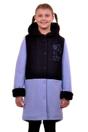 Пальто Цвет: Голубой Материал: Вареная шерсть Описание: Утепленное пальто для девочки с вышивкой. Ткань верха - Вареная шерсть (65% шерсть + 35% п/э), подклад - 100%п/э, утеплитель синтепон 100 гр.