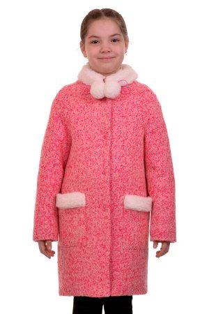 Пальто Цвет: Ярко-розовый Материал: Букле Описание: Утепленное пальто для девочки. Ткань верха - Букле (65% шерсть + 35% п/э), подклад - 100%п/э, утеплитель синтепон 60 гр.