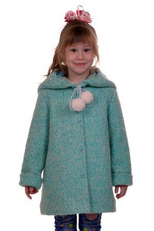Пальто Цвет: Мята Материал: Букле Описание: Утепленное пальто для девочки. Ткань верха - Букле (65% шерсть + 35% п/э), подклад - 100%п/э, утеплитель синтепон 60 гр.