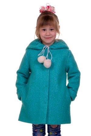 Пальто Цвет: Мята-зелень; Материал: Букле Утепленное пальто для девочки. Ткань верха - Букле (65% шерсть + 35% п/э), подклад - 100%п/э, утеплитель синтепон 60 гр.