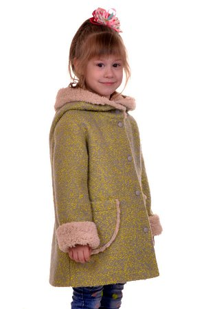 Пальто Цвет: Лимон; Материал: Букле Утепленное пальто для девочки. Ткань верха - Букле (65% шерсть + 35% п/э), подклад - 100%п/э, утеплитель синтепон 60 гр.