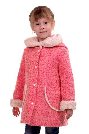 Пальто Цвет: Серо-розовый Материал: Букле Описание: Утепленное пальто для девочки. Ткань верха - Букле (65% шерсть + 35% п/э), подклад - 100%п/э, утеплитель синтепон 60 гр.