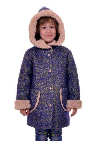 Пальто Цвет: Сине-желтый; Материал: Букле Утепленное пальто для девочки. Ткань верха - Букле (65% шерсть + 35% п/э), подклад - 100%п/э, утеплитель синтепон 60 гр.