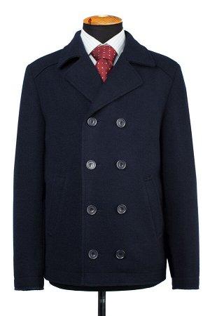 06-0337 Пальто мужское демисезонное вареная шерсть темно-синий