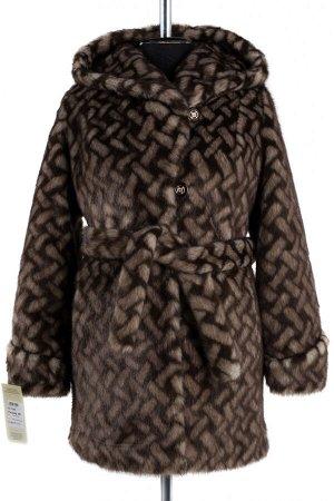 02-1268 Пальто шуба искусственная женская (пояс) Искусственный мех коричневый