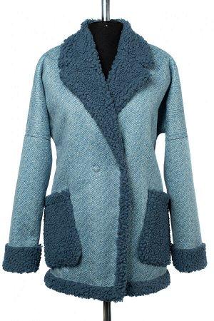 02-2457 Пальто женское утепленное Эко-дубленка голубой